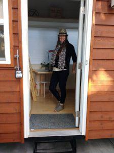 tiny travel chick travel experience tiny house front door
