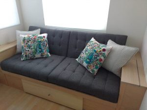 tiny travel chick travel experience tiny house couch