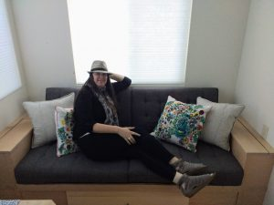 tiny travel chick travel experience tiny house built in couch
