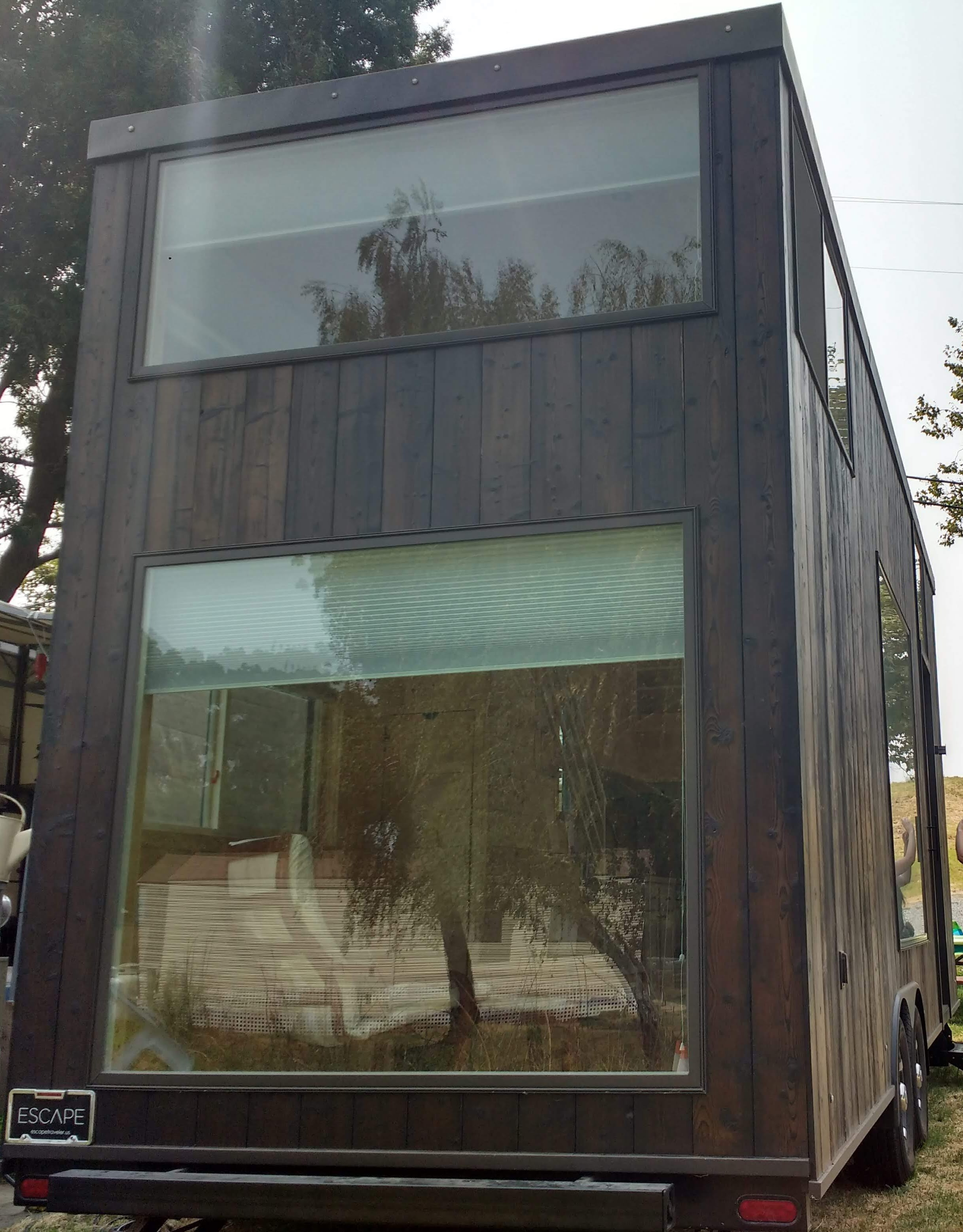 tiny travel chick fun travel escape one tiny house back view