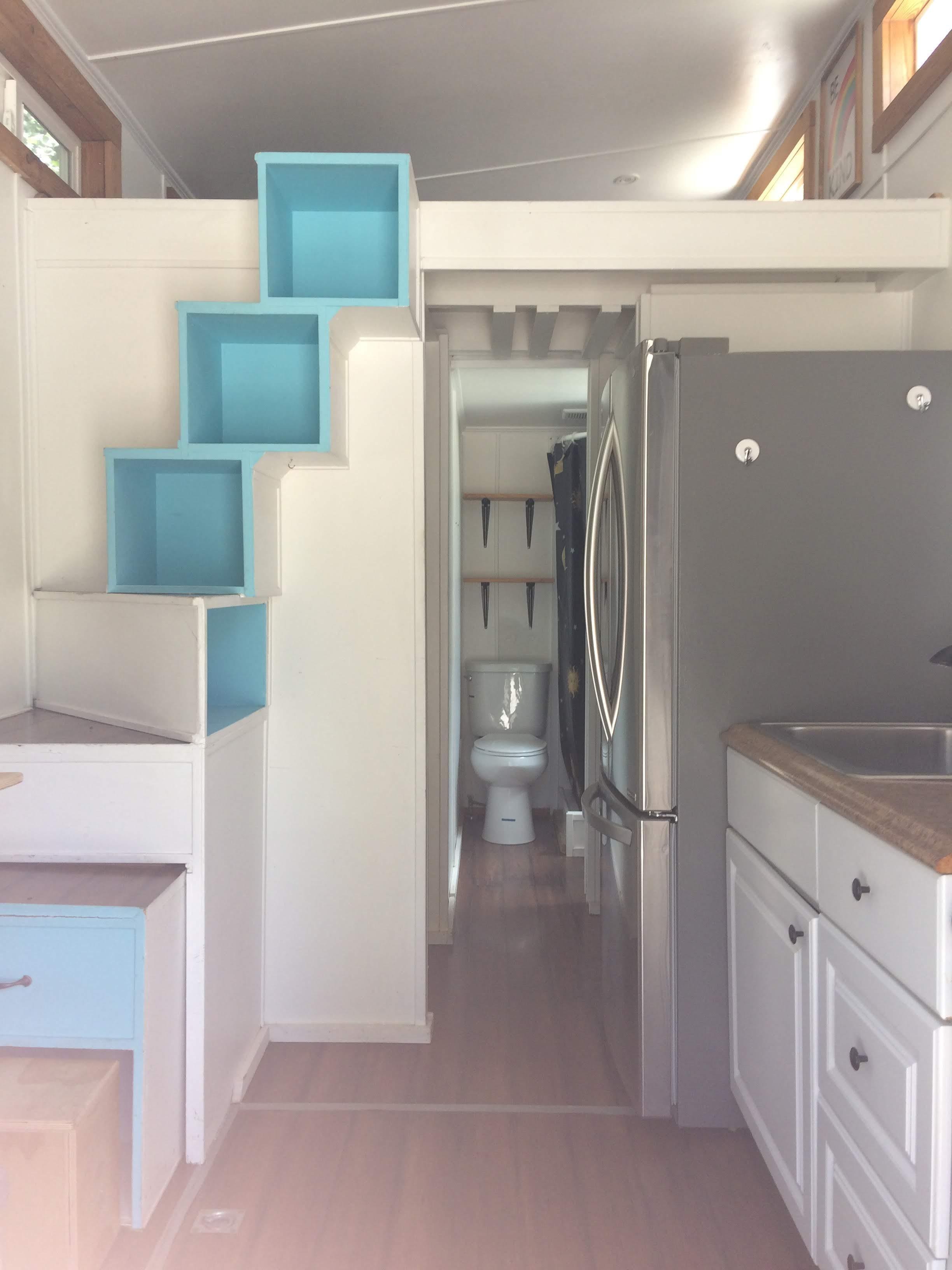 tiny travel chick tiny house block sunchaser kitchen
