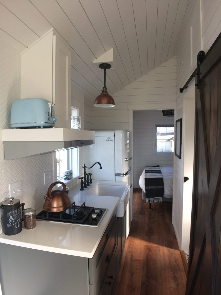 tiny travel chick tiny house on wheels builders kitchen