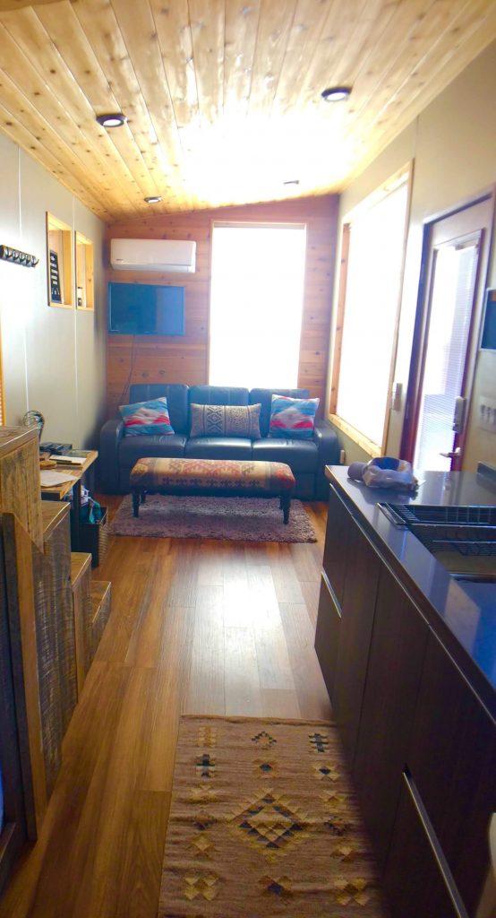 tiny travel chick tiny house arizona living room
