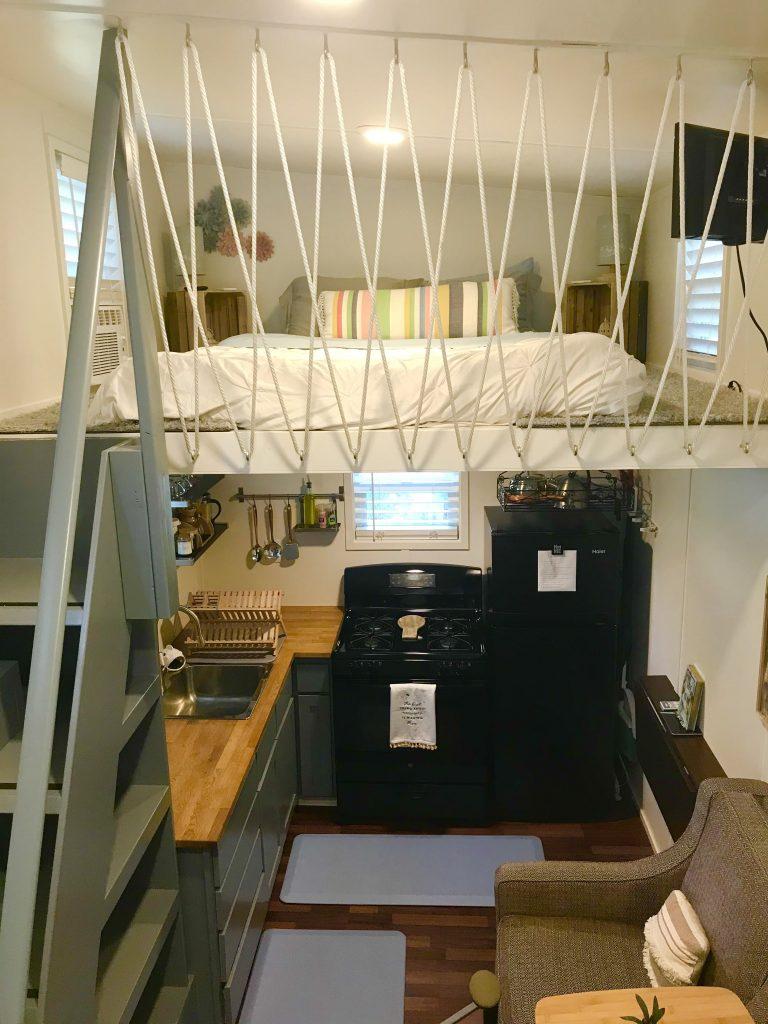 tiny travel chick tiny house airbnb bedroom loft
