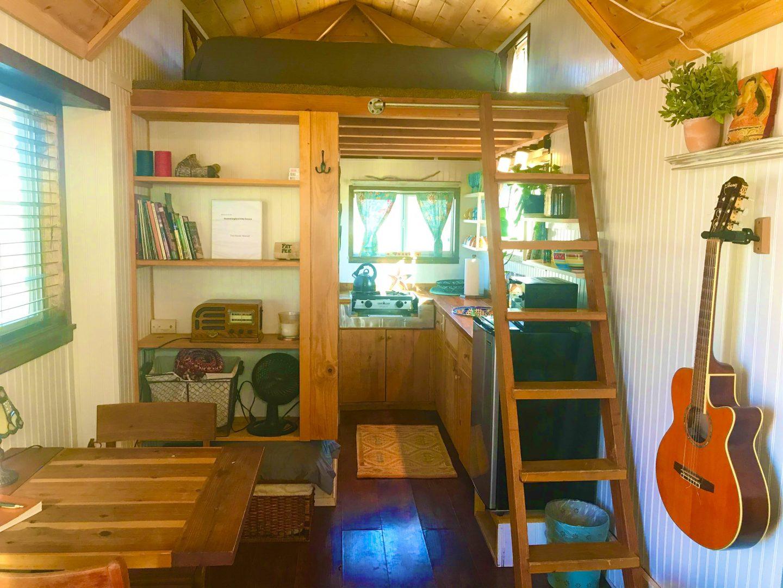 tiny travel chick tiny home airbnb kitchen