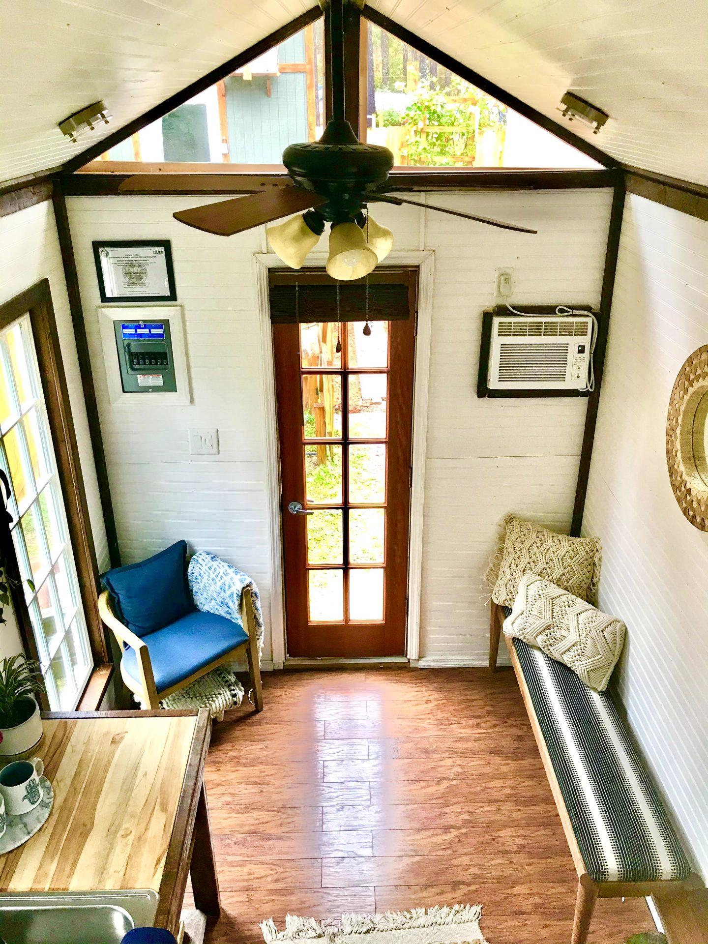 tiny travel chick tiny house company florida shanti living room